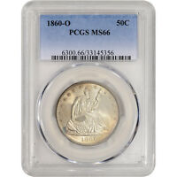 1860 O US SEATED LIBERTY SILVER HALF DOLLAR 50C   PCGS MS66