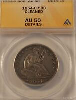 1854 O 50C AU50 CLEANED ANACS HALF DOLLAR