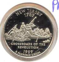 US NEW JERSEY CAMEO PROOF STATE QUARTER 1999 S COIN SAN FRANCISCO MINT