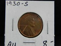1930-S AU LINCOLN WHEAT CENT CIRCULATED -  DETAILS - GOOD COIN