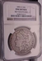 1893O MORGAN SILVER DOLLAR. BEAUTIFUL GRAY COLOR NGC FINE DETAILS, REV SCRATCHED