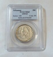 1939-D ARKANSAS CENTENNIAL COMMEMORATIVE SILVER HALF $ PCGS MINT STATE 65 LOW MINTAGE