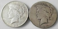 LOT 2 PEACE 90 SILVER DOLLARS   1925 S SAN FRANCISCO  1922 P PHILADELPHIA