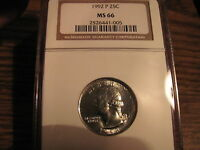 1992 P WASHINGTON QUARTER NGC MS66 LIST $165 NICE