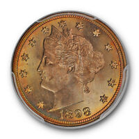 1898 5C LIBERTY NICKEL PCGS MINT STATE 65 GREEN YELLOW TONED BEAUTY