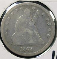 1872 SEATED LIBERTY 25C QUARTER ID TT779