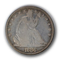 1886 50C LIBERTY SEATED HALF DOLLAR GOOD VG LOW MINTAGE CLEANED R627