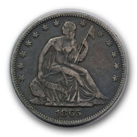 1865 50C LIBERTY SEATED HALF DOLLAR FINE TO EXTRA FINE P MINT R708