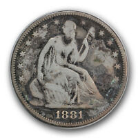 1881 50C LIBERTY SEATED HALF DOLLAR FINE F CORRODED LOW MINTAGE R749