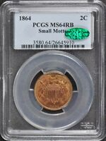 1864 2C SMALL MOTTO TWO CENT PIECE PCGS MINT STATE 64RB CAC