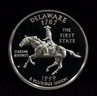 1999 S STATE QUARTER DELAWARE DEEP CAMEO PROOF UNCIRCULATED 90 SILVER COIN