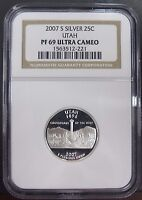 2007 SILVER PROOF UTAH QUARTER GRADED NGC PF69 ULTRA CAMEO PROOF UNC