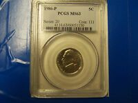 1986 P JEFFERSON NICKEL PCGS MS 63 BUSINESS STRIKE      NICE STEPS