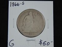 1866 S GOOD SEATED LIBERTY HALF DOLLAR   NICE DETAILS GOOD COIN