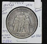1849 BB FRANCE 2ND REPUBLIC 5 FRANCE SILVER HERCULES COIN KM 756.2