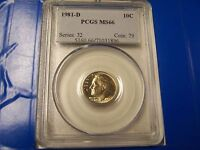 1981 D ROOSEVELT DIME PCGS MS66   CHIPPED SLAB  FREE US SHIPPING