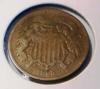HISTORIC  CIVIL WAR ERA 1865 2 CENT COIN TO FIND,GOOD SHAPE COLLECTIBLE