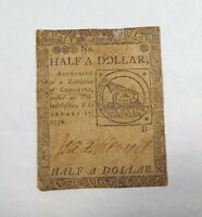 BARGAIN 2/17/1776 US COLONIAL CURRENCY PA HALF A DOLLAR FUGIO NOTE FINE CC 21
