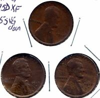 EARLY LINCOLN WHEAT CENT TRIO: 1915 G 1915D XF 1915S CLEANED VG