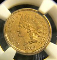 1860 POINTED BUST INDIAN CENT MS62 PCGS ORIGINAL ESTATE COIN