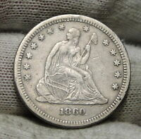 1860 SEATED LIBERTY QUARTER 25 CENTS    KEY DATE 804,400 MINTED. 4725