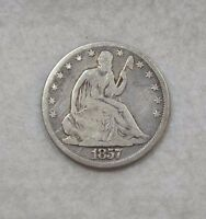 1857 O LIBERTY SEATED HALF DOLLAR GOOD SILVER 50C