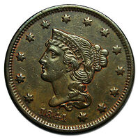 1841 LARGE CENT LIBERTY BRAIDED HAIR HEAD COIN LOT  MZ 2395