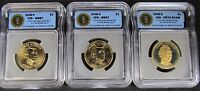 2008 JAMES MONROE PRESIDENTIAL DOLLAR 3-COIN SET ICG MINT STATE 67 & PR70 DCAM