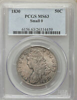 1830 SMALL 0 BUST HALF DOLLAR PCGS MS 63