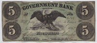 $5. NOTE  GOVERNMENT BANK 1862