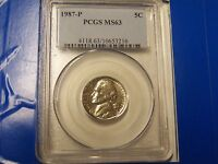 1987 P JEFFERSON NICKEL PCGS MS 63 BUSINESS STRIKE      NICE STEPS