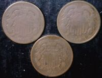 1865 1867 & 1869 TWO CENT 2C COINS MAKE AN OFFER  LOT OF DATES 3 COIN LOT