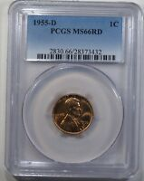 1955 D LINCOLN WHEAT CENT PCGS MS66RD