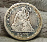 1844 SEATED LIBERTY QUARTER 25 CENTS   KEY DATE ONLY 421,200 MINTED. 4736