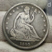 1840 SEATED LIBERTY HALF DOLLAR 50 CENTS. NICE COIN  4022