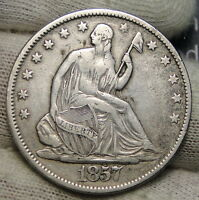 1857 SEATED LIBERTY HALF DOLLAR 50 CENTS. NICE COIN   4069