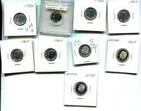 1960 1962 1963 2005 2007 2009  ROOSEVELT SILVER PROOF DIME LOT OF 9 1688H