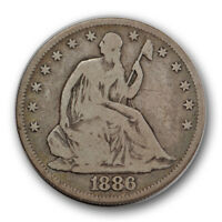 1886 50C LIBERTY SEATED HALF DOLLAR GOOD TO FINE ORIGINAL TONED R902