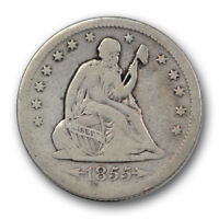 1855 O 25C ARROWS LIBERTY SEATED QUARTER NEW ORLEANS FINE F R1043