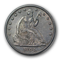 1891 50C LIBERTY SEATED HALF DOLLAR EXTRA FINE XF LOW MINTAGE R1064