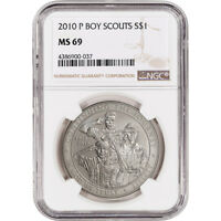 2010 P US BOY SCOUTS OF AMERICA COMMEMORATIVE BU SILVER DOLLAR   NGC MS69