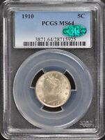 1910 5C LIBERTY NICKEL PCGS MINT STATE 64 CAC