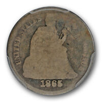 1865 10C LIBERTY SEATED DIME PCGS AG 3 ABOUT GOOD KEY DATE LOW MINTAGE