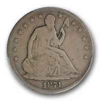 1871 CC LIBERTY SEATED HALF DOLLAR PCGS VG 10 CARSON CITY KEY DATE COIN