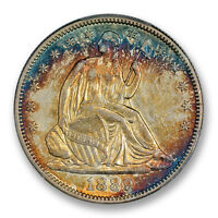1889 50C LIBERTY SEATED HALF DOLLAR PCGS XF 45 GORGEOUS COLORFUL TONING