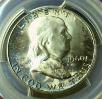 1960 PCGS MS63 FRANKLIN SILVER HALF DOLLAR BLUE COLOR TONE BLAZING MS 63 COIN