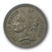 1884 THREE CENT NICKEL PCGS VF 30 FINE KEY DATE CAC APPROVED