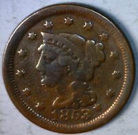 1853 LARGE CENT US COPPER COIN ESTATE PENNY LOT 2 OF 100 AUCTIONS W/