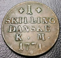 1771 DENMARK 1 SKILLING COPPER COIN  KM616   FREE COMBINED S/H