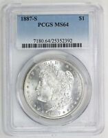 1887 S MORGAN SILVER DOLLAR MINT STATE 64 PCGS 2392